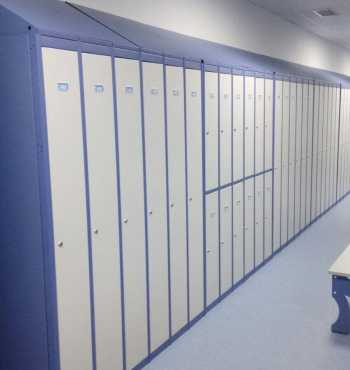 Lockers and changing room benches